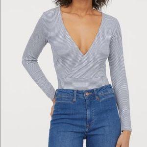 H&M Long Sleeve Surplice Bodysuit
